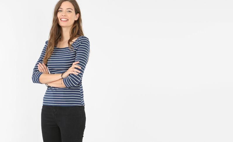 T-shirt décolleté dos bleu