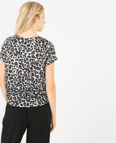 T-shirt leopardata bianco sporco