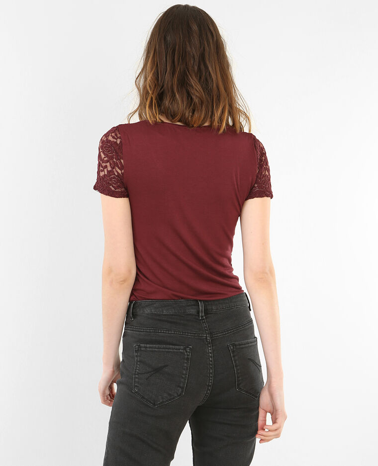 spitzen t shirt granatrot 403597326a03 pimkie. Black Bedroom Furniture Sets. Home Design Ideas