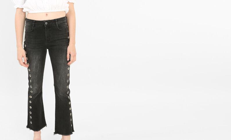 Flare jeans met metalen ringen zwart