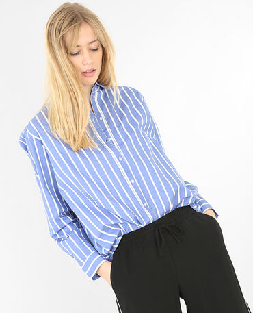 Gestreiftes Hemd aus Baumwolle Jeansblau
