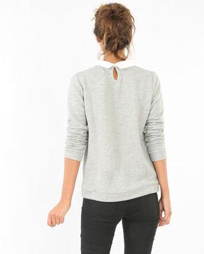 Sweatshirt mit Schmuck-Kragen Grau meliert