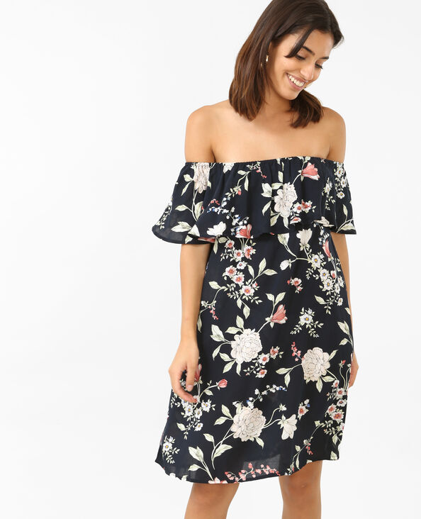 Kleid mit Bardot-Ausschnitt. Schwarz