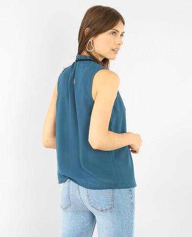 Blouse uit voile met brede hals eendenblauw