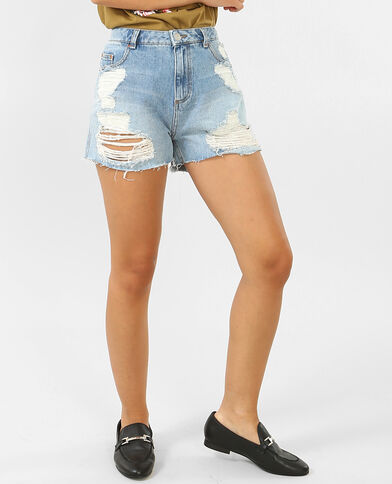 Short in jeans a vita alta blu