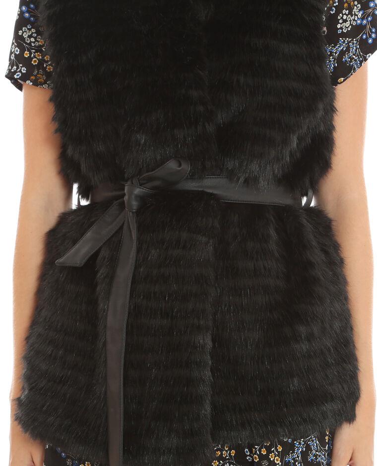 Gilet fausse fourrure noir 324025899a08 pimkie - Gilet fausse fourrure noir ...
