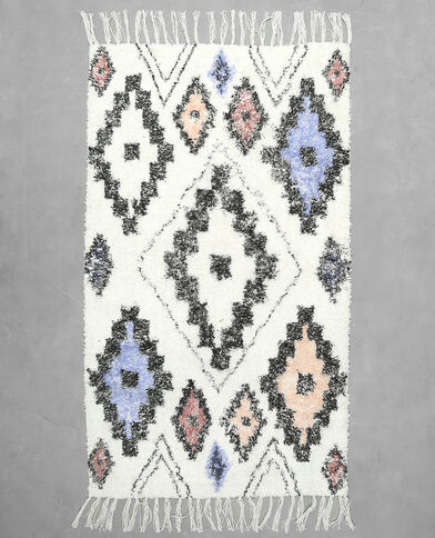 Baumwollteppich im Ethno-Stil Weiß