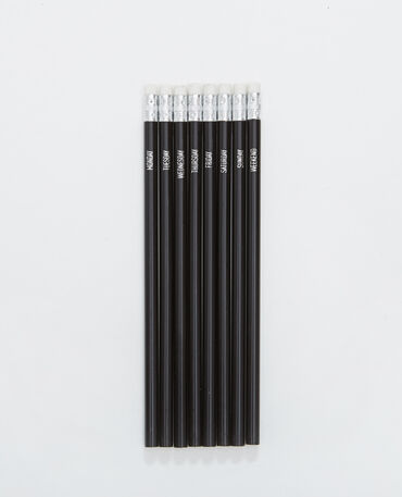 Lot de 8 crayons de bois noir