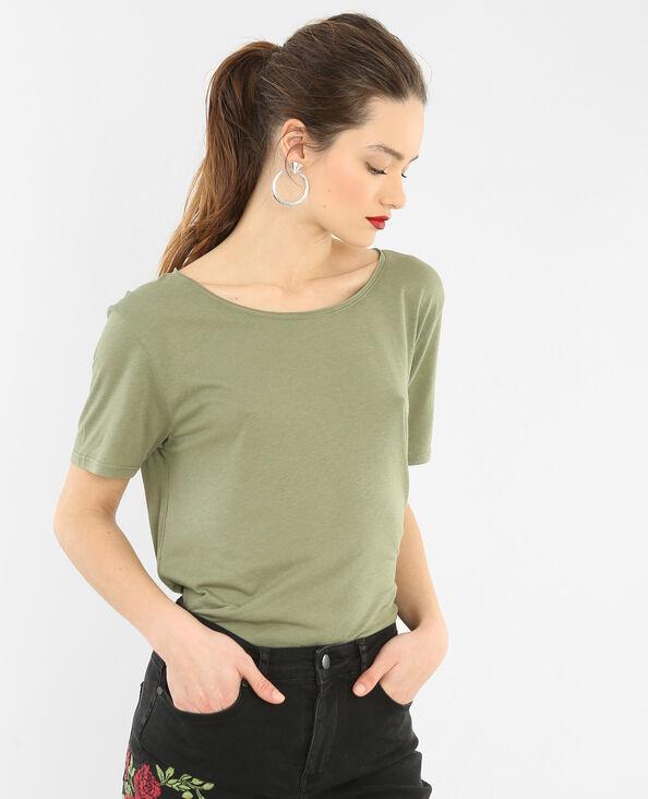 T-shirt met raw cut kraag groen