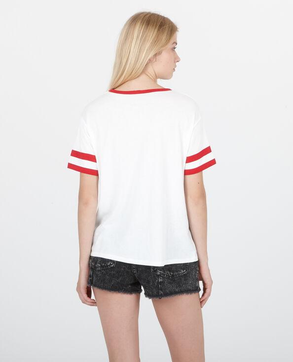 Tweekleurig T-shirt met opschrift gebroken wit