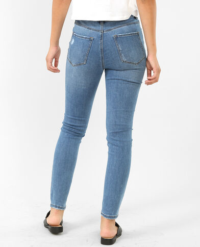 Skinny Jeans mit Destroyed-Effekt Denimblau