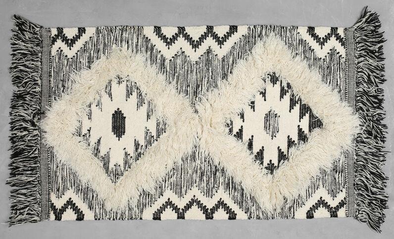 Geweven katoenen tapijt met berbermotief zwart