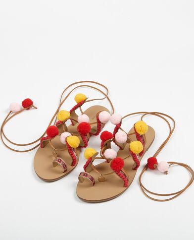 Etnische sandalen met kwastjes camel