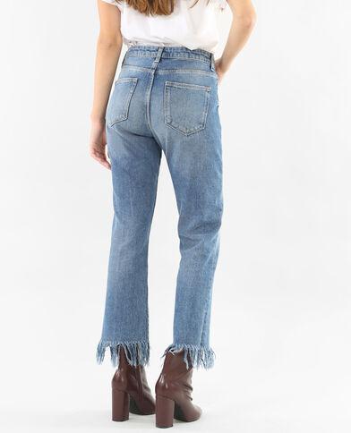 Jeans con frange blu denim