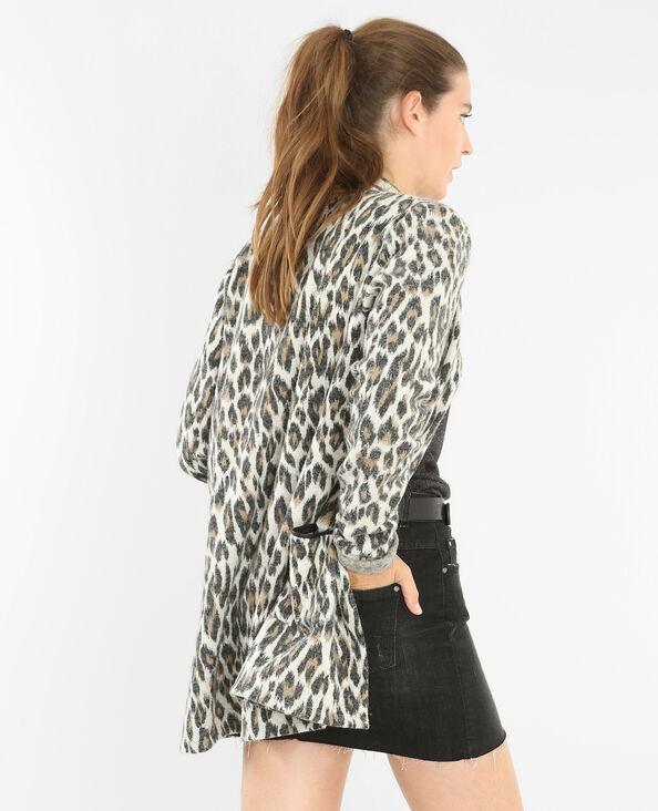 Gilet long léopard écru