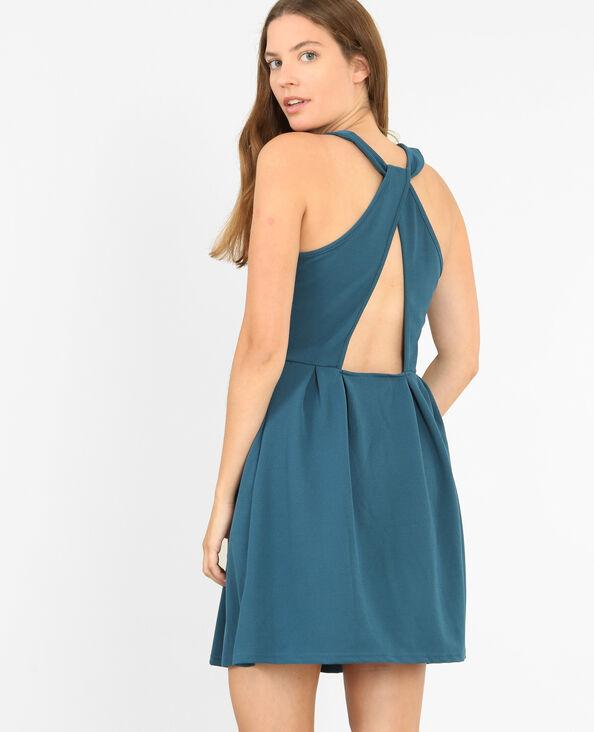 Kleid mit im Rücken gekreuzten Trägern Türkisblau