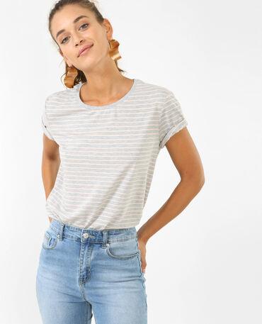 T-shirt à rayures gris chiné