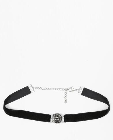 Choker-Halskette aus Velours Schwarz