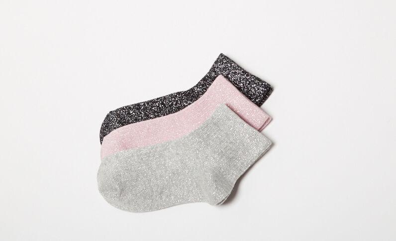 Lote de 3 pares de calcetines de lúrex negro