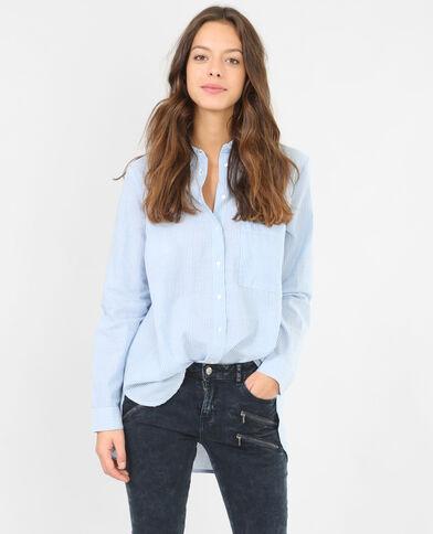 Camisa popelín a rayas azul celeste