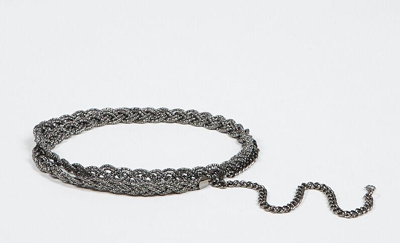 Ceinture bijoux tressée gris anthracite