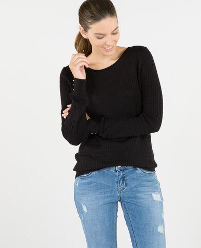 Leichter Pullover mit Zopfmuster Schwarz