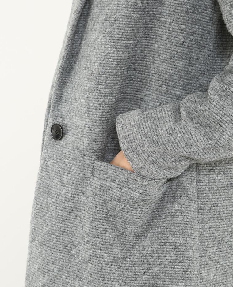 Langer Blazer aus Wollstoff Grau meliert