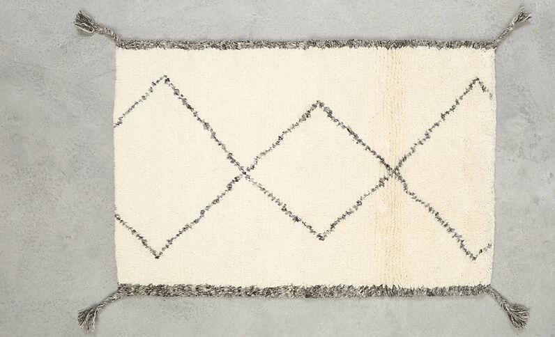 Rechthoekig tapijt met ruitjes gebroken wit