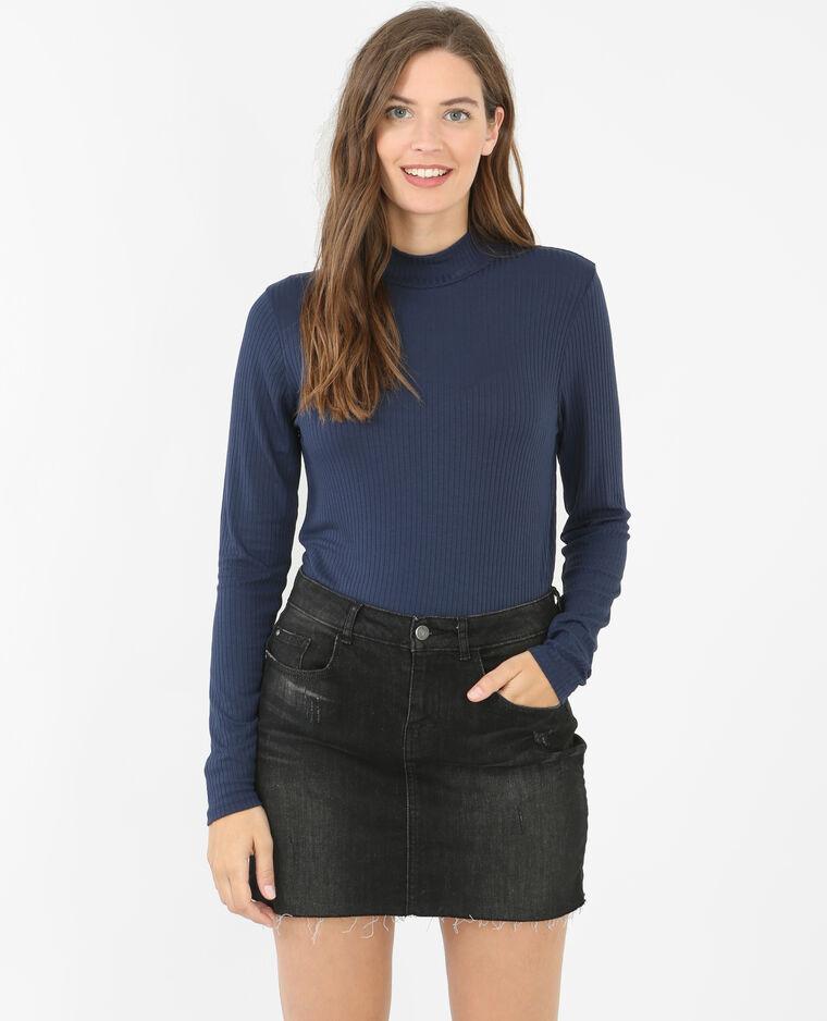 geripptes t shirt mit stehkragen marineblau 473050635a06 pimkie. Black Bedroom Furniture Sets. Home Design Ideas