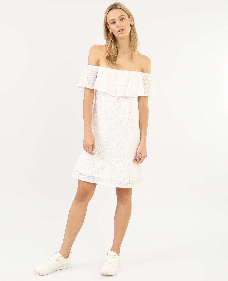 Spitzen-Kleid mit Bardot-Ausschnitt Altweiß