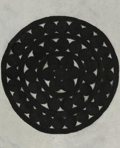 Jute-Teppich Mandala Schwarz