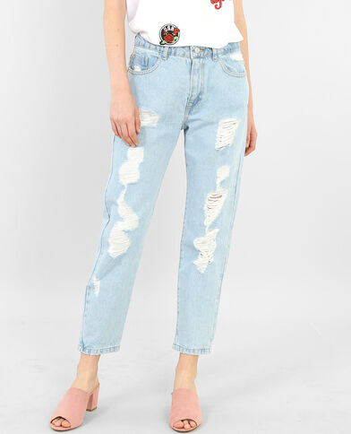 Destroyed Mom Jeans Blau