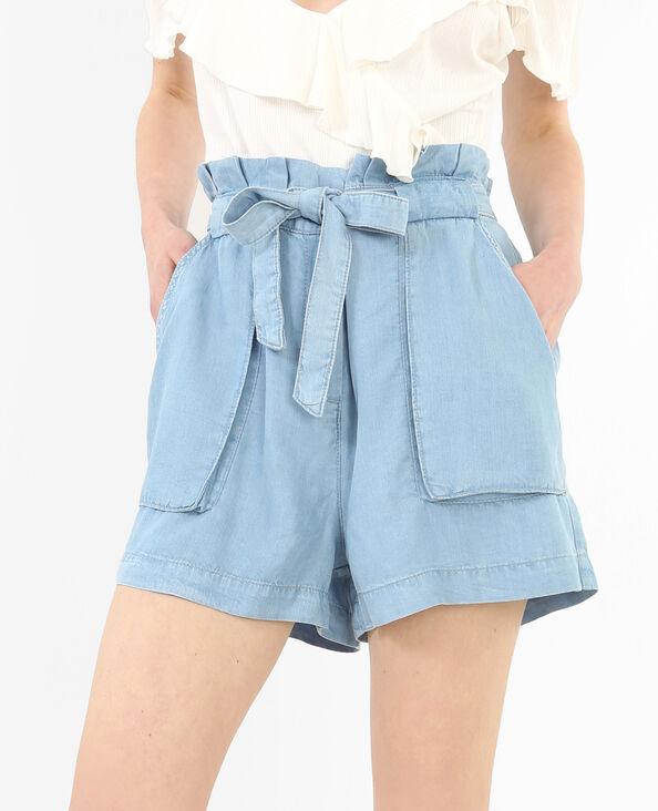 Weite Shorts mit hoher Taille Blau