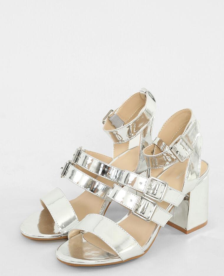 Sandales argentées talons carrés gris argenté