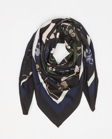 Foulard satin fleuri noir