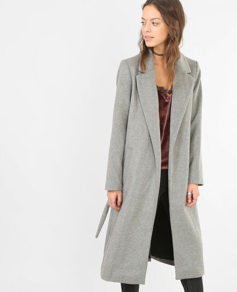 Manteau peignoir long gris chiné