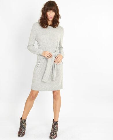 Robe pull ceinture gris chiné