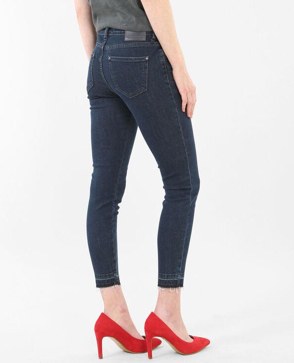 7/8-Skinny-Jeans mit hoher Taille und ausgefranstem Saum Blau