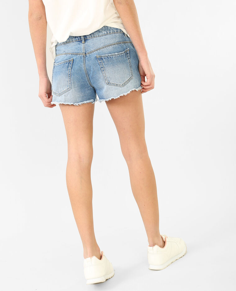 Mini-Shorts im Destroyed-Look Blau
