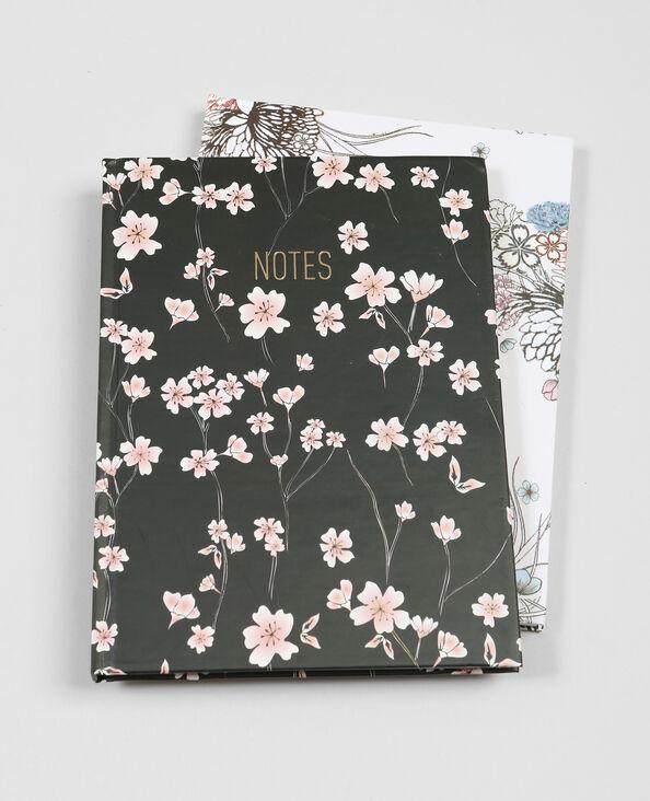 Lot de 2 notebooks imprimés fleuris noir