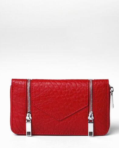 Portafoglio Compagnon con zip rosso