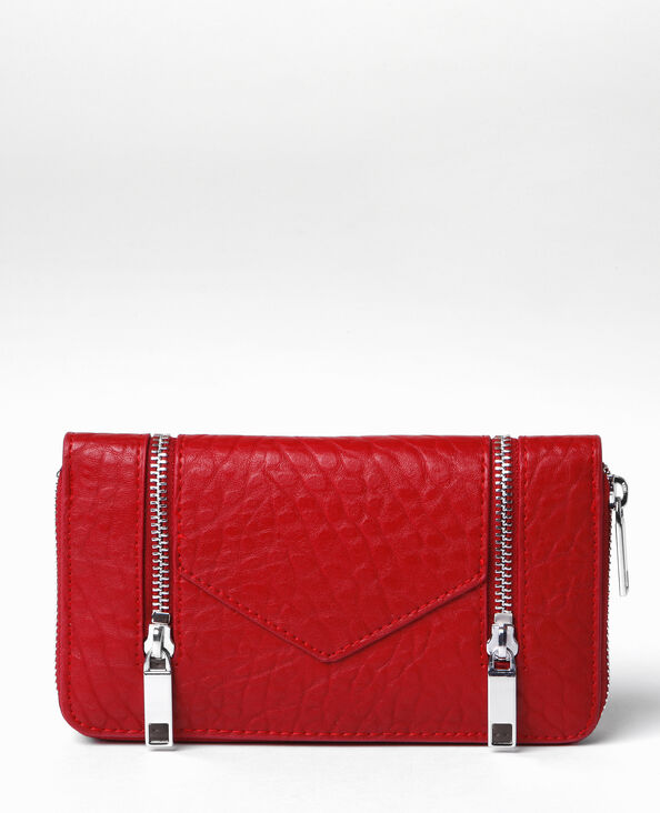 Lange portefeuille met rits rood