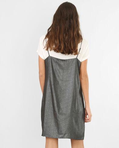 Robe nuisette métallisée gris argenté