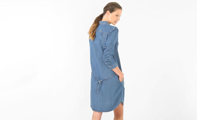 Hemdblusenkleid aus Denim Blau