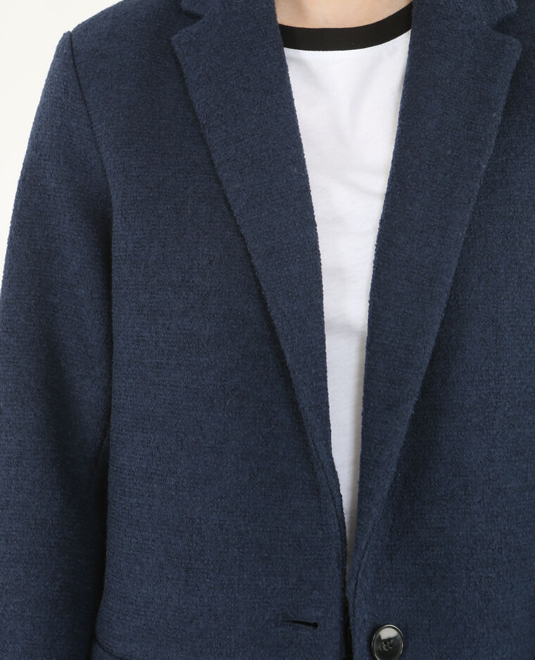 Langer Blazer aus Wollstoff Marineblau