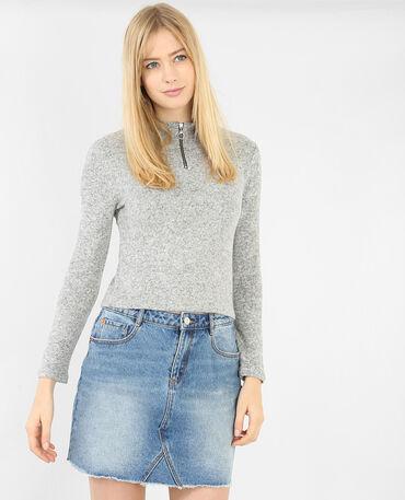 Cropped-Pullover mit Reißverschluss Grau meliert