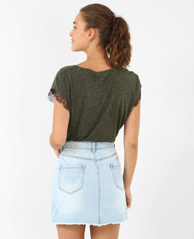 T-shirt dentelle kaki