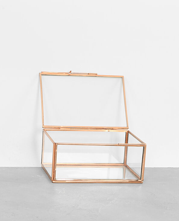 Kästchen aus Glas und Metall Kupferrot