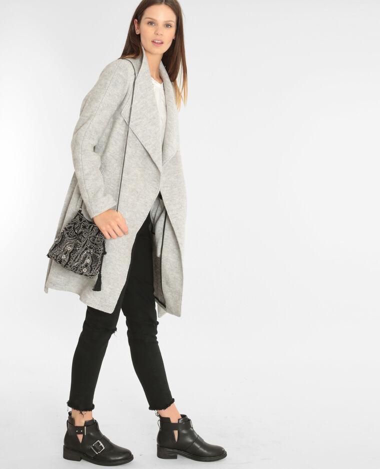 Mantel aus Wollstoff mit Gürtel Grau meliert