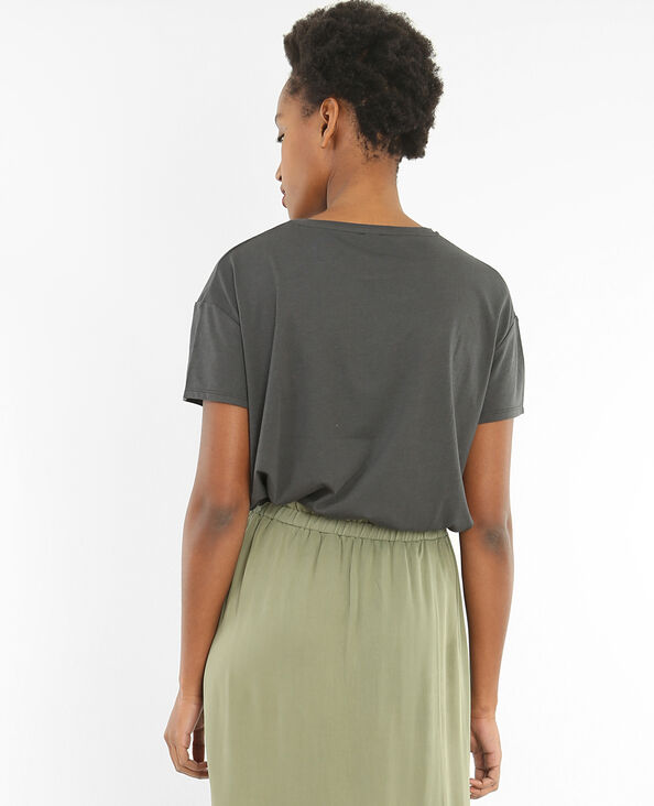 T-shirt broderies gris anthracite